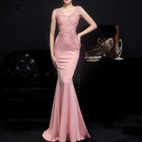 Party Dresses QSYYE Pink Prom 2021 Elastic Mermaid Long Dress Women Appliques Lace Formal Gown Sleeveless V Neck Evening