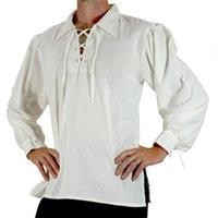 Camicie casual da uomo Uomini Costume medievale Costume medievale Solid Rinascimento PIRATE TOP A LACCHING UP STAND COLLO COLLAGGIO CAMICIA BANDAGGIO PER COS VIAGGIA ABBIGLIAMENTO