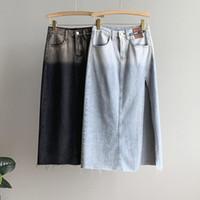 Etekler Patchwork Renk Yan Bölmüş Uzun Denim Kadınlar 2021 Yaz Ince Kot Orta Yüksek Bel Ince A-Line Etek
