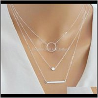 Cor de ouro prata cor multicamada cadeia para mulheres retrô simples boêmio longo geometirc bar círculo cedqs aqeit