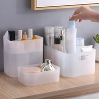 Storage Boxes & Bins Desktop Cosmetic Box, Plastic Frosted Compartment, Transparent Box With Lid, Bathroom Jewelry Organizer