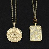Цепи монеты злого глаз дисковый ожерелье для женской защиты ювелирных изделий золотая луна звезда рукой амулет греческая цепь CZ Fio Olho Turocce