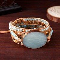 Tennis Handmade Leather Wrap Natural Amazonite Druzy Bead Crystal Stone Bracelets For Women