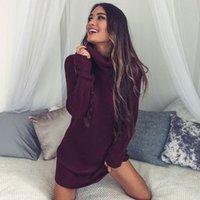 여성 스웨터 드레스 가을 겨울 긴 소매 니트 터틀넥 두꺼운 따뜻한 슬림 드레스 Vestido de