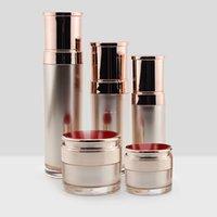 زجاج زجاجات مضخة مركبات التجميل أكريليك مع غطاء ذهبي روز 30 جرام 50 جرام 30ml-50ml-100ml -12ml-120 ملليلتر