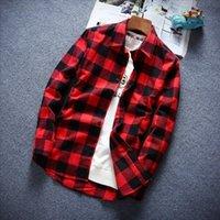 Men's Casual Shirts Plaid Shirt Men Long Sleeve Slim Fashion Cotton High Quality Red Black White