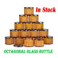 8 각형 유리 병 100ml 촛불 컨테이너 스토리지 jar 콩 왁스 홀더 뚜껑을 홈 장식을 위해 비어 있습니다