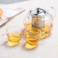 Chá de café conjuntos de calor resistente a pote de vidro conjunto de flores puer chaleira com infusor escritório casa vkku