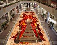 Sfondi PVC Pavimento Autoadesivo Pittura Murali Moderno personalizzato 3D Murale Soggiorno Volcanico Magma Sospensione Ponte in legno
