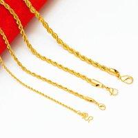 Cadenas 2021 Moda coreana 24k Joyería de boda de oro 2/3/4 / 5mm Collares para las mujeres Accesorios de gargantillas estéticas de grunge al por mayor