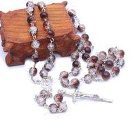 Perles rondes broyées Crucifix Collier de chapelet Collier Fournitures de prière pour le Saint-Père et Mère de Dieu Église catholique