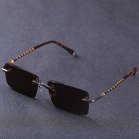 Luxury designer glasses Rimless Glass Sunglasses Men Brown Sun Glasses for Man Crystal Stone Heavy Lenses Eye Dry Scratch Anti Reflection UV400
