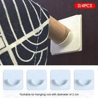 Hooks & Rails 2 4PCS Shower Curtain Rod Holder Adhesive Easy Install Stick On Home Bathroom Plastic No Drilling DIY