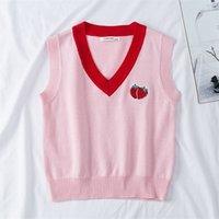 Herbst Baby Jungen Mädchen V-Ausschnitt Erdbeerweste Mantel Kinder Kleidung Sleeveless lose gestrickte Kinder Weste 210521