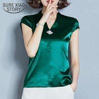 المرأة البلوزات قمصان الصيف الأزياء الكورية الحرير المرأة الساتان الخامس الرقبة الأحمر زائد الحجم xxxl قمم و blusas موهير 10162