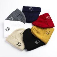 Sombrero de punto bordado Smiley Custom Casual Melon Fur Fur Wool Hat Sombrero de la moda coreana
