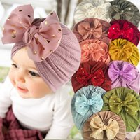 Ins Big Bow Knot With Polka Dots Baby Girl Caps Candy Color Beanies Knit Infant Hats 0-3T