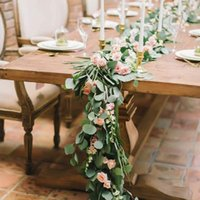 Dense Leaf Artificial Eucalyptus Garland Faux Silk Leaves Vines Handmade Garland Greenery Wedding Backdrop Arch Wall Decoration