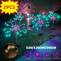 Outdoor LED Solar Fireworks Lights 90 120 150 LEDs Waterproof String Fairy Light For Garden Home Christmas Decoration(1 2Pcs)