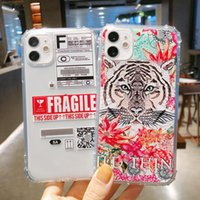 Tiger fragile label pattern transparent phone cases For iPhone 12 11 pro promax X XS Max 7 8 Plus shockproof protect cover