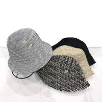 Designer chapéus letra clássica impresso mulheres e homens pescador chapéu de verão protetor solta de proteção de sol quatro cores ld lan_jewelry