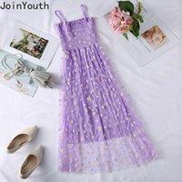 Joinyouth High Gauze Robe Print Vintage Floral Vintage Sweet Sleeveless Robe Bretelles Bretelles Vestiges Plissées Robes Dames Dames1