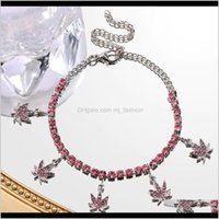 Anklets Jewelry2021 Maple Leaf Crystal For Women Pink Rhinestone Butterfly Tennis Chain Anklet Bracelet Beach Aessories Drop Delivery 2021 Bp