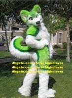 Green Long Furry Furry Wolf Fox Husky Dog Pursuit Mascot Costume Adulto personaggio dei cartoni animati Persone indossare loro festa festa ZZ7598