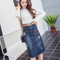 Skirts Long Denim Skirt Women Vintage Embroidery High Wasit Jeans With Belt Plus Size Midi Straight Pencil