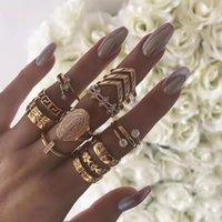 New English Alphabet Inlaid Diamond Simple Pattern Joint Ornament 13 Piece Flower Leaf Ring Set