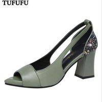 Сандалии Летние Peep Toe Высокие каблуки Насосы Bling Pumps Открытые Обувь Обувь с коренастыми Женщинами Sandalias Mujer LHCGY