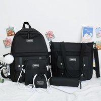 5 ADET Setleri Genç Kızlar için Tuval Okul Çantaları Kadın Sırt Çantaları Dizüstü Anahtarlık Okul Çantaları Seyahat Bagpack Mochila Escolar
