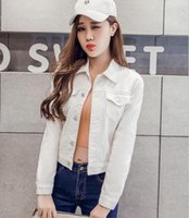 Womens Denim Jacket Casual Long Sleeve Slim White Black Red Pink Jeans Top For Women Solid Women's Short Overcoat Ladies Jackets Tops