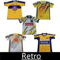 Mexiko Tigres Retro Fussball Trikots Home Yellow 1996 97 98 99 2000 01 02 Vintage Fussball Hemden Jersey Classic Tiger Shirt