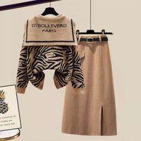 Mode Strick Zwei Teile Gottehn Zebra Print Tops Pullover + Kniekleid Lässige Tragen Vielseitige Weicher Pullover Herbst Winter