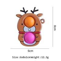 Novel Cartoon Fidget Sensory partys toy Bubbles Push Bubble Key Ring Snowmen Santa Clause Reindeer Elk Christmas Xmas Tree Dog LD61016