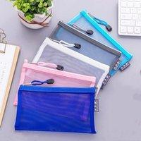Basit Katı Renk Tarzı Şeffaf Örgü Kalem Kutusu Ofis Öğrenci Okul Kırtasiye Kutusu için Makyaj Depolama Kılıfı Bag1