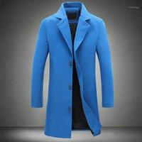 Automne Blue Mens Hommes Hiver Long Trench Coat Hommes Slim Fit Fit Surdimensuel Casual Manteau à manches longues Vêtements 5XL 4XL1