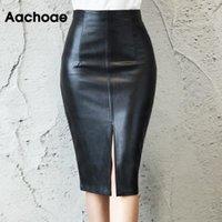 AACHOAE NOIR PU Jupe en cuir PU femmes Midi Sexy taille haute taille Bullon Split Bureau Crayon Longueur du genou Plus Taille
