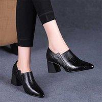 Puntige neus Mid hakken vrouwen herfst enkele schoenen vrouw zachte pu lederen schoen vierkante hak vrouwelijke korea stijl kant zip zwart 210610
