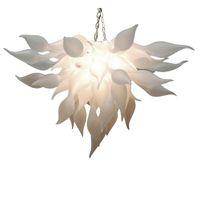 Lustre de cristal de vidro de vidro à mão lâmpadas de pingente de arte branco w80xh40cm iluminação interior moderna sala de estar decoração