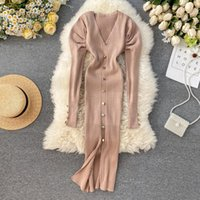 Casual Dresses Trendy Winter Sweater Dress Women Puff Long Sleeve V Neck Button Vintage Elegant Knitted Midi Slit Sexy Bodycon