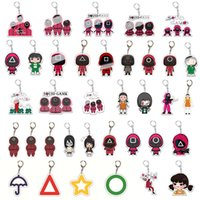 36 Style Favor Acrylic squid game keychain Newest Halloween Party Gifts Mini Doll Key Ring Car Backpack Pendant Gift Ornament XD24900