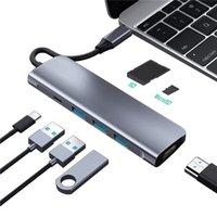 متعددة الوظائف 7 في 1 USB-C HUB 3XUSB3.0 HDTV SD TF بطاقة قارئ PD شحن ل MacBook Tablet