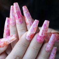 24 шт. Нажмите на ombre акриловые ногти с дизайном натуральный длинный балерина гроб ложные ногти полное покрытие ногтей искусства для женщин и девочек