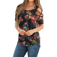 المرأة t-shirt المرأة الأزهار طباعة بلوزة 2021 الصيف خمر السيدات الملابس قصيرة الأكمام البلوزات strappy قمم الباردة الكتف قميص
