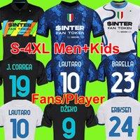 S - 4 XL Inter Soccer Jersey Dzeko Correa Milan Lautaro Vidal Barella Lautaro Eriksen Hakimi الكسيس لكرة القدم قميص 2021 2022 الرجال + أطفال كيت زي رابع