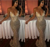 2019 Sexy Bling Sweetheart Mermaid Sleeveless Sequins Shiny Light Champagne Prom Dresses Long Sweep Train Deep V Neck Evening Gowns BC1051