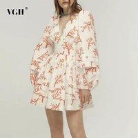 Günlük Elbiseler VGH Nedensel Baskı Yaz Elbise Kadın V Boyun Fener Uzun Kollu Yüksek Bel Dantelli Hit Renk Mini Kadın Moda 2021 Gelgit