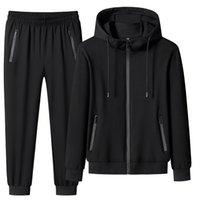 Men's Tracksuits Conjunto de roupas esportivas masculinas, calça moletom com capuz, 2 peças, + , tamanho gran 7xg 8xg, primavera PDPQ